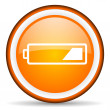 Battery orange glossy icon on white background - Stock Photo