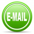 Mail green glossy icon on white background - Stock Photo