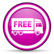 Free delivery violet glossy icon on white background - Stock Photo
