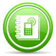 Phonebook green glossy icon on white background — Stock Photo