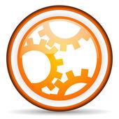 Gears orange glossy icon on white background — Stock Photo