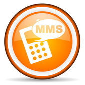 Mms orange glossy icon on white background — Foto Stock