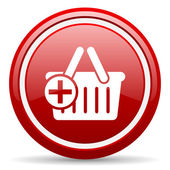 Shopping cart red glossy icon on white background — Stock Photo