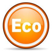 Eco orange glossy icon on white background — Stock Photo