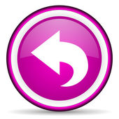Back violet glossy icon on white background — Stock Photo