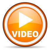 Video orange glossy icon on white background — Stock Photo