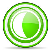 Moon green glossy icon on white background — Stock Photo