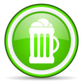 Beer green glossy icon on white background — ストック写真