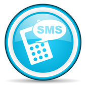 Sms blue glossy icon on white background — Stock Photo