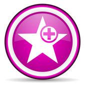 Star violet glossy icon on white background — Stock Photo