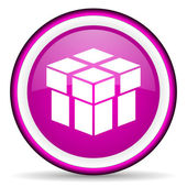 Box violet glossy icon on white background — Stock Photo