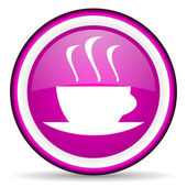 Coffee violet glossy icon on white background — Stock Photo