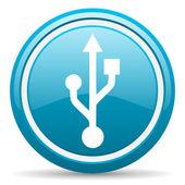 Usb blue glossy icon on white background — Stock Photo