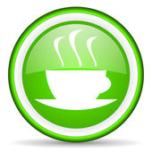 Coffee green glossy icon on white background — Stock Photo