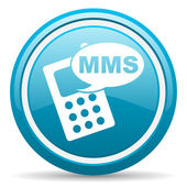 Mms blue glossy icon on white background — Foto Stock