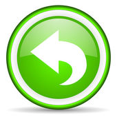 Back green glossy icon on white background — Stock Photo