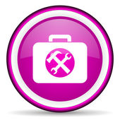 Toolkit violet glossy icon on white background — 图库照片