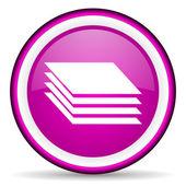 слои фиолетовый блестящий значок на белом фоне — Стоковое фото