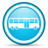 Bus blue glossy icon on white background — Stock Photo