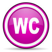 Wc violet glossy icon on white background — Stock Photo