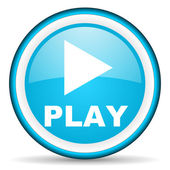 Play blue glossy icon on white background — Stock Photo