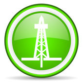 Drilling green glossy icon on white background — Stock Photo