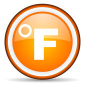 Fahrenheit orange glossy icon on white background — Stock Photo