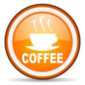 Coffee orange glossy icon on white background — Stock Photo