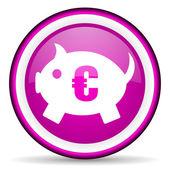 Sparschwein violett glänzend symbol auf weißem hintergrund — Stockfoto