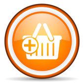Shopping cart orange glossy icon on white background — Stock Photo