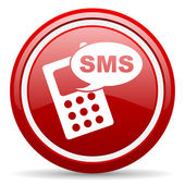 Sms red glossy icon on white background — Stock Photo