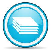 Camadas azul ícone brilhante sobre fundo branco — Foto Stock