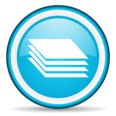 Layers blue glossy icon on white background — Stock Photo