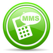 Mms green glossy icon on white background — Foto de Stock