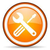 Tools orange glossy icon on white background — Stock Photo