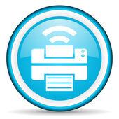 Print blue glossy icon on white background — Stock Photo