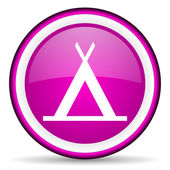 Camping violet glossy icon on white background — 图库照片