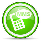 Mms green glossy icon on white background — Photo
