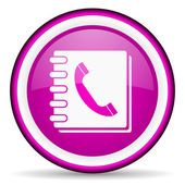 Phonebook violet glossy icon on white background — Stock Photo