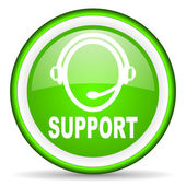 Support green glossy icon on white background — Stock Photo