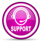 Support violet glossy icon on white background — 图库照片