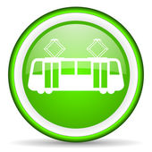 Tram green glossy icon on white background — Stock Photo
