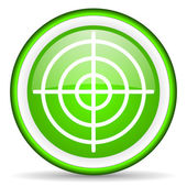 Target green glossy icon on white background — Stock Photo