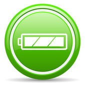 Battery green glossy icon on white background — Stock Photo