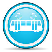 Tram blue glossy icon on white background — Photo
