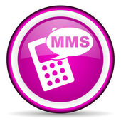 Mms violet glossy icon on white background — Stock Photo