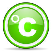Celsius green glossy icon on white background — Stock Photo