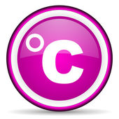 Celsius violet glossy icon on white background — Stockfoto