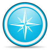 Compass blue glossy icon on white background — Stock Photo