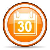 Calendar orange glossy icon on white background — Stock Photo
